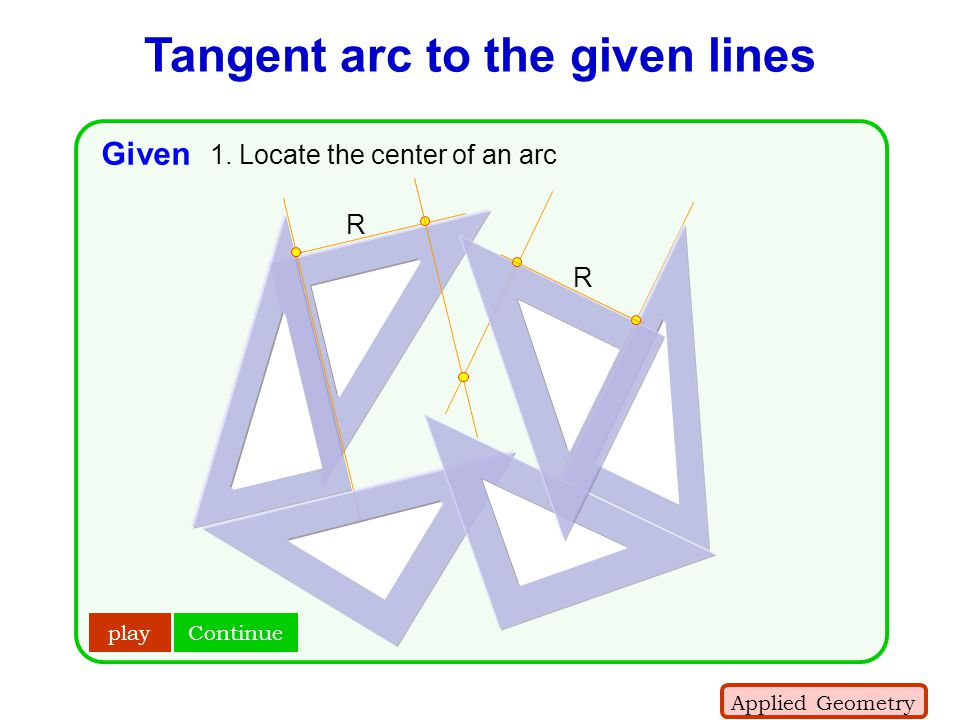 Tangent arc to the given lines