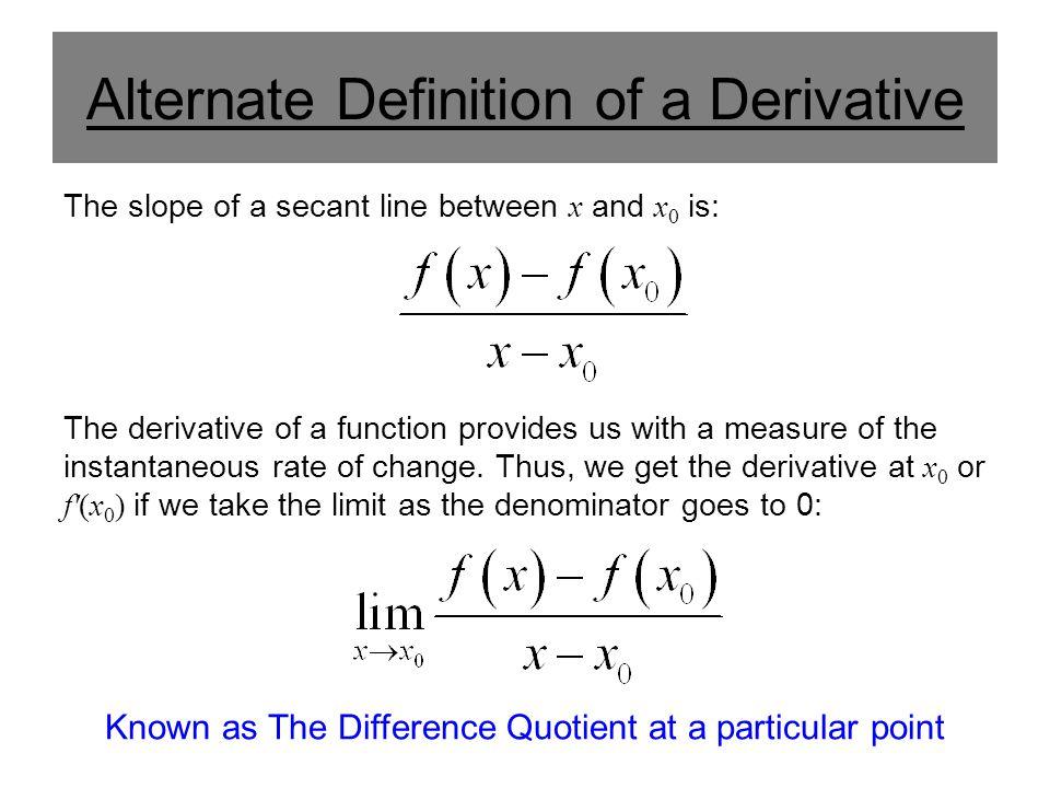 Alternate Definition of a Derivative