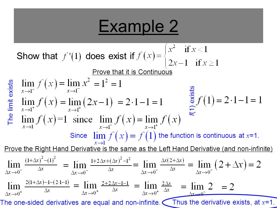 Example 2 Show that does exist if Prove that it is Continuous