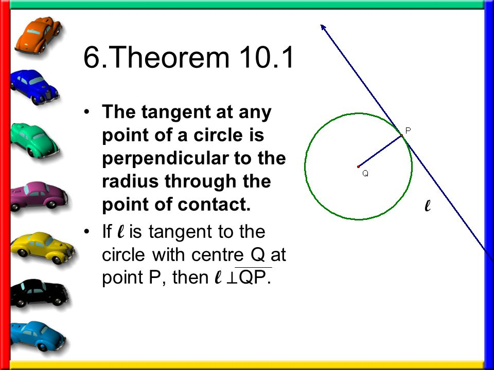 6.Theorem 10.1 The tangent at any point of a circle is perpendicular to the radius through the point of contact.