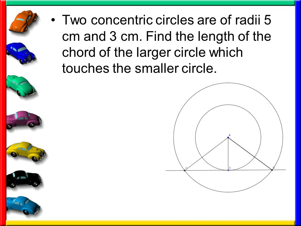 Two concentric circles are of radii 5 cm and 3 cm