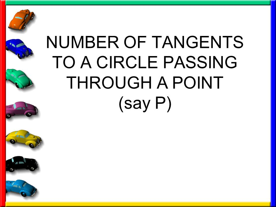 NUMBER OF TANGENTS TO A CIRCLE PASSING THROUGH A POINT (say P)