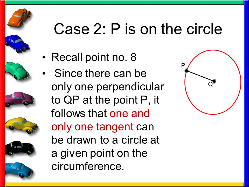 Case 2: P is on the circle Recall point no. 8