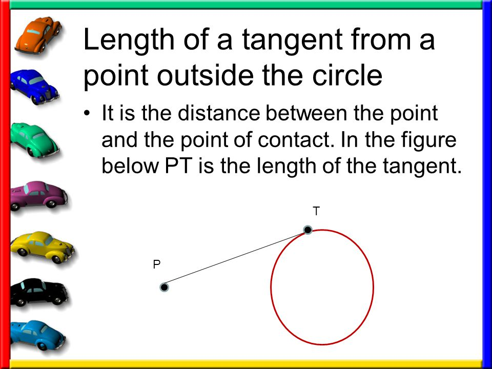 Length of a tangent from a point outside the circle