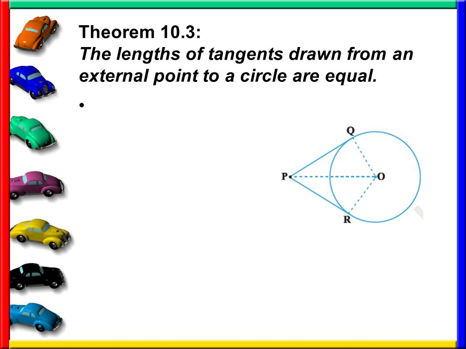 Theorem 10.3: The lengths of tangents drawn from an external point to a circle are equal.