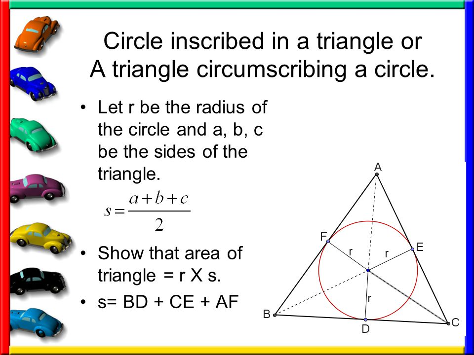 Circle inscribed in a triangle or A triangle circumscribing a circle.