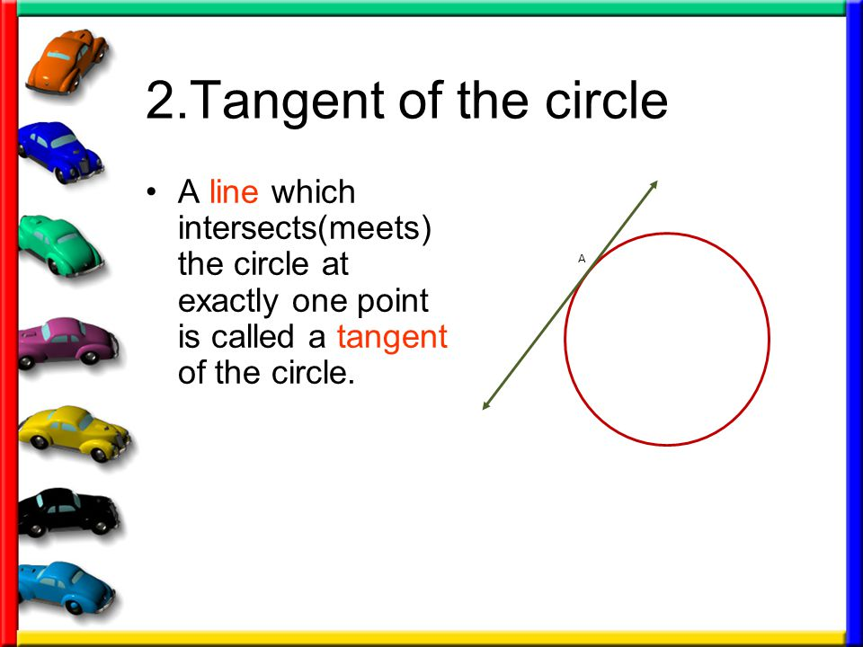 2.Tangent of the circle A line which intersects(meets) the circle at exactly one point is called a tangent of the circle.