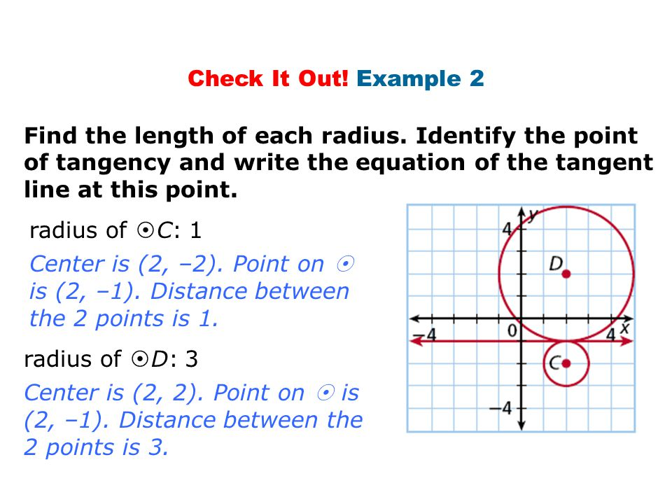 Check It Out! Example 2 Find the length of each radius. Identify the point of tangency and write the equation of the tangent line at this point.