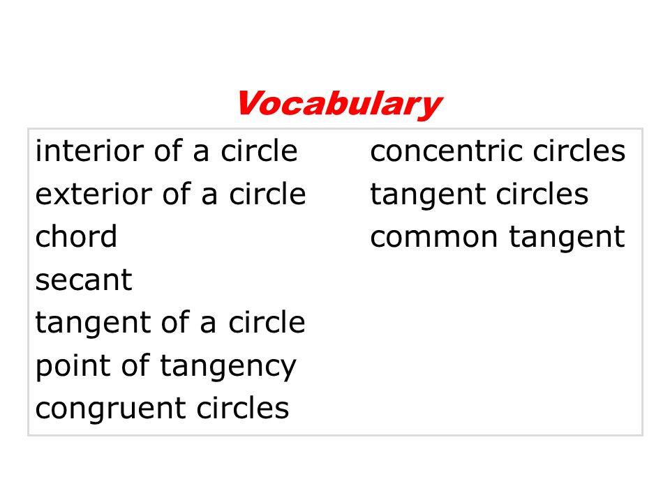 Vocabulary interior of a circle concentric circles