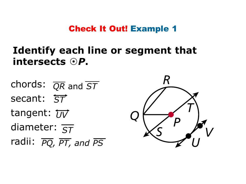 Identify each line or segment that intersects P.