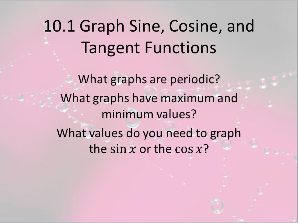 10.1 Graph Sine, Cosine, and Tangent Functions