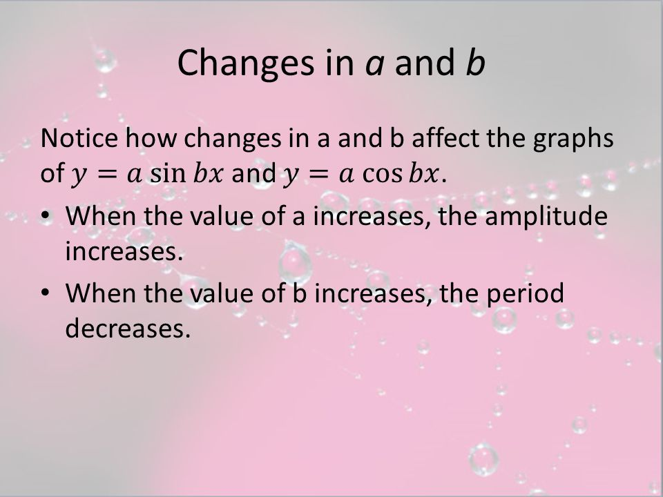Changes in a and b Notice how changes in a and b affect the graphs of 𝑦=𝑎 sin⁡𝑏𝑥 and 𝑦=𝑎 cos⁡𝑏𝑥.