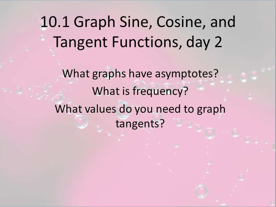 10.1 Graph Sine, Cosine, and Tangent Functions, day 2