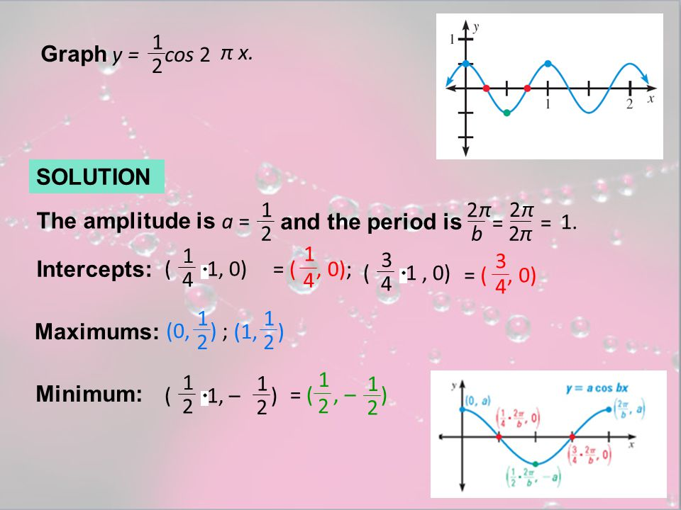 Graph y = cos 2 π x. 1. 2. SOLUTION. The amplitude is a = 1. 2. and the period is. b. π.