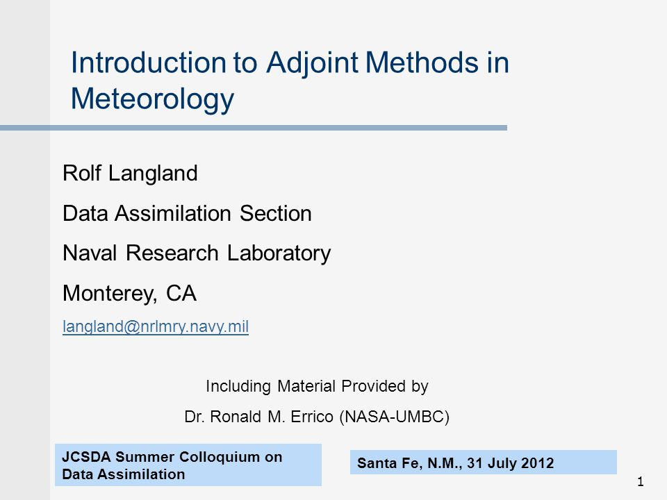 Introduction to Adjoint Methods in Meteorology