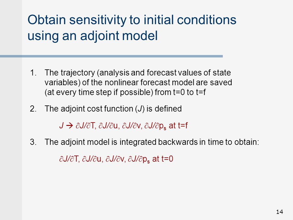 Obtain sensitivity to initial conditions using an adjoint model