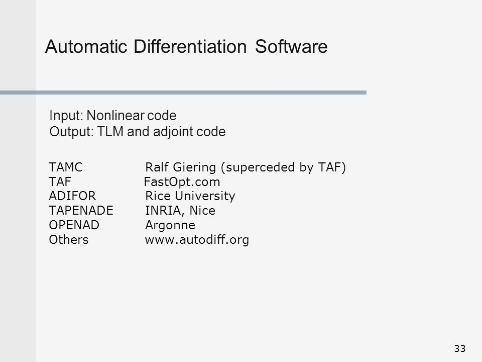 Automatic Differentiation Software