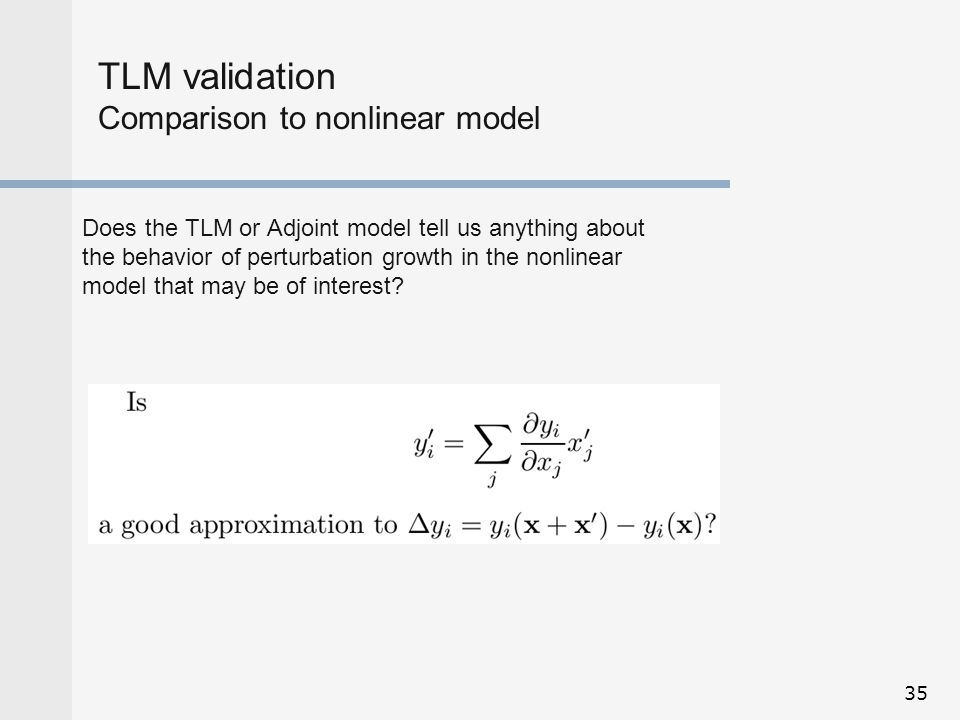 TLM validation Comparison to nonlinear model