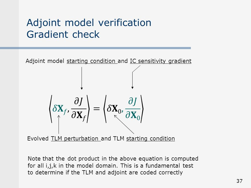 Adjoint model verification Gradient check