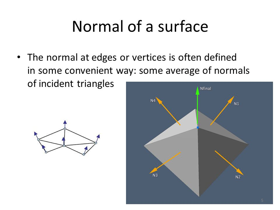 Normal of a surface The normal at edges or vertices is often defined in some convenient way: some average of normals of incident triangles.
