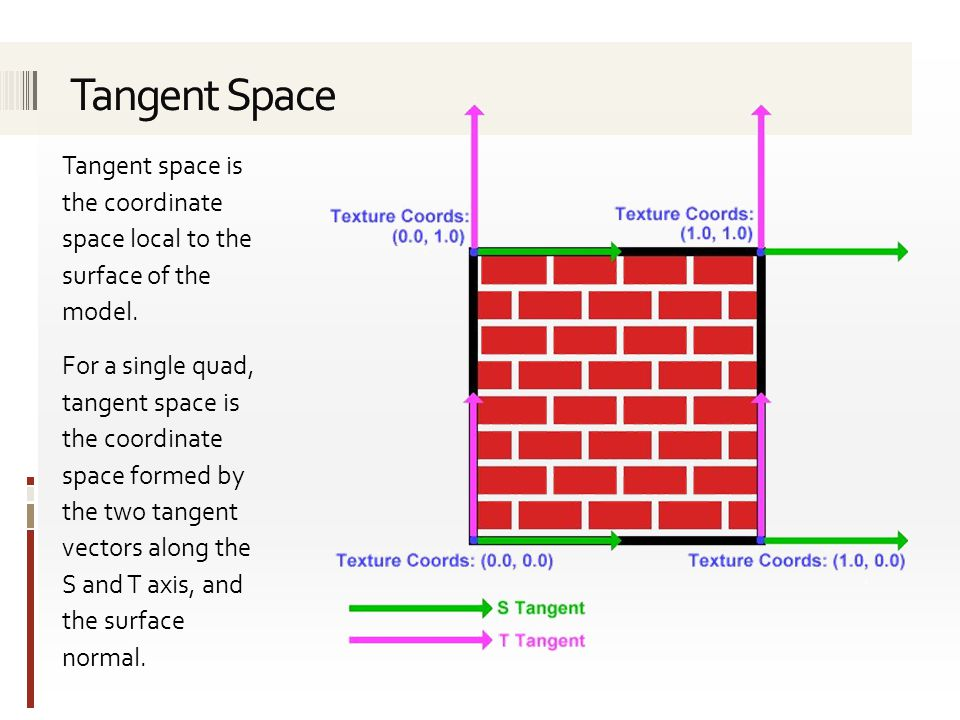 Tangent Space Tangent space is the coordinate space local to the surface of the model.