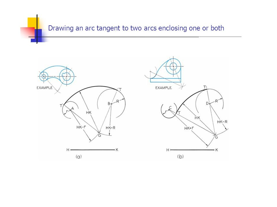 Drawing an arc tangent to two arcs enclosing one or both