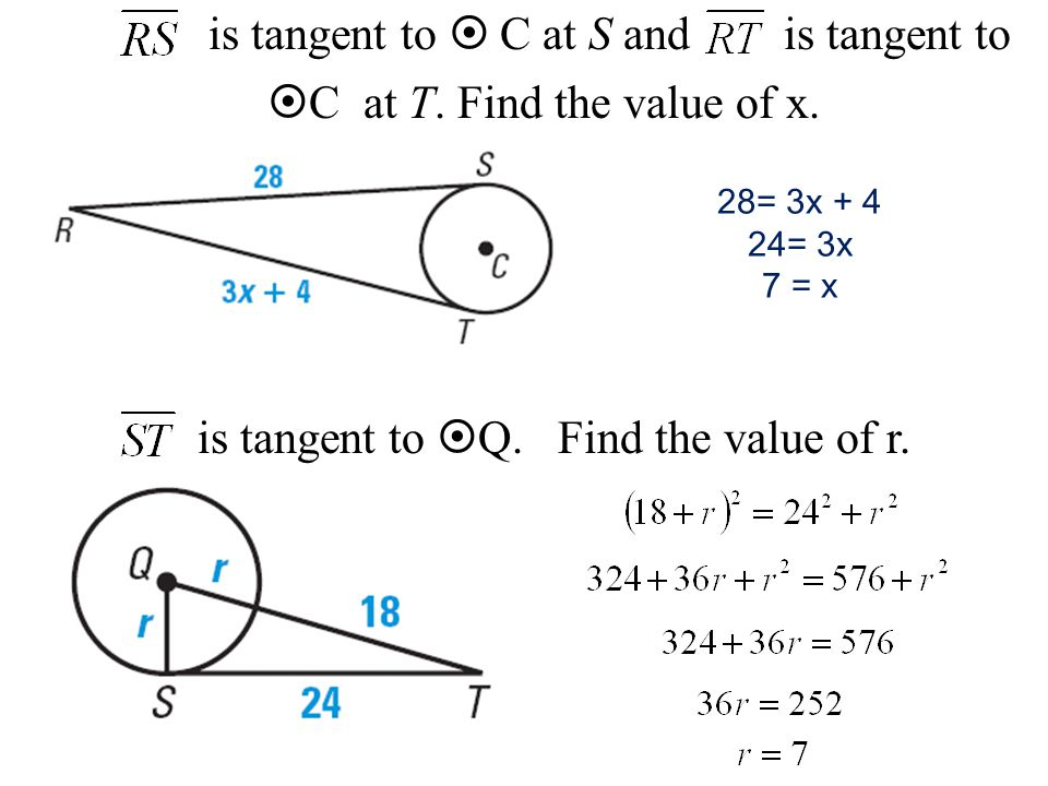 is tangent to  C at S and is tangent to C at T. Find the value of x