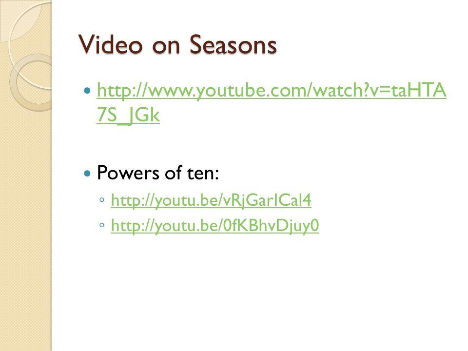Video on Seasons http://www.youtube.com/watch v=taHTA 7S_JGk