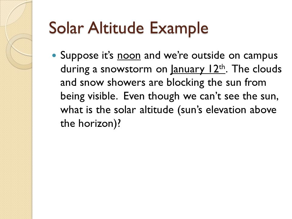 Solar Altitude Example