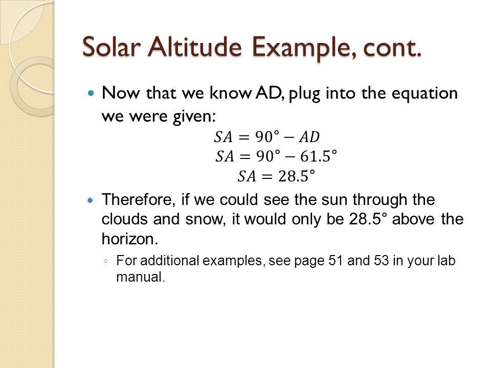 Solar Altitude Example, cont.