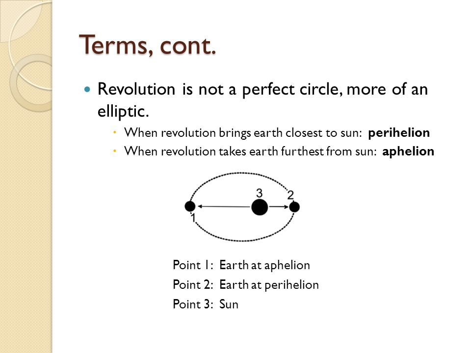 Terms, cont. Revolution is not a perfect circle, more of an elliptic.