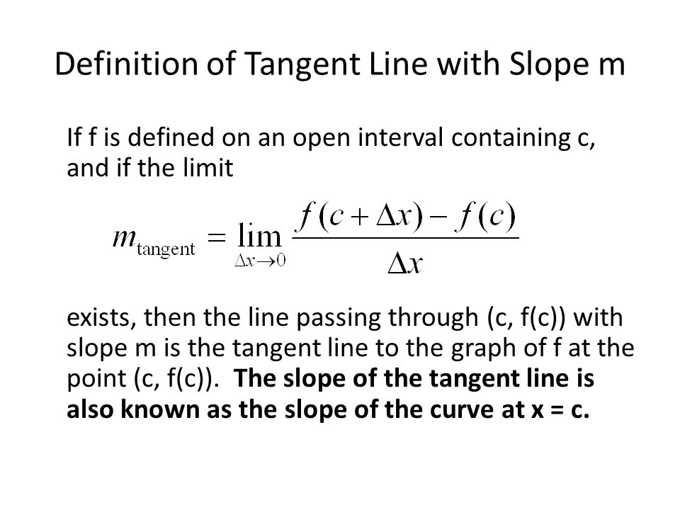 Definition of Tangent Line with Slope m