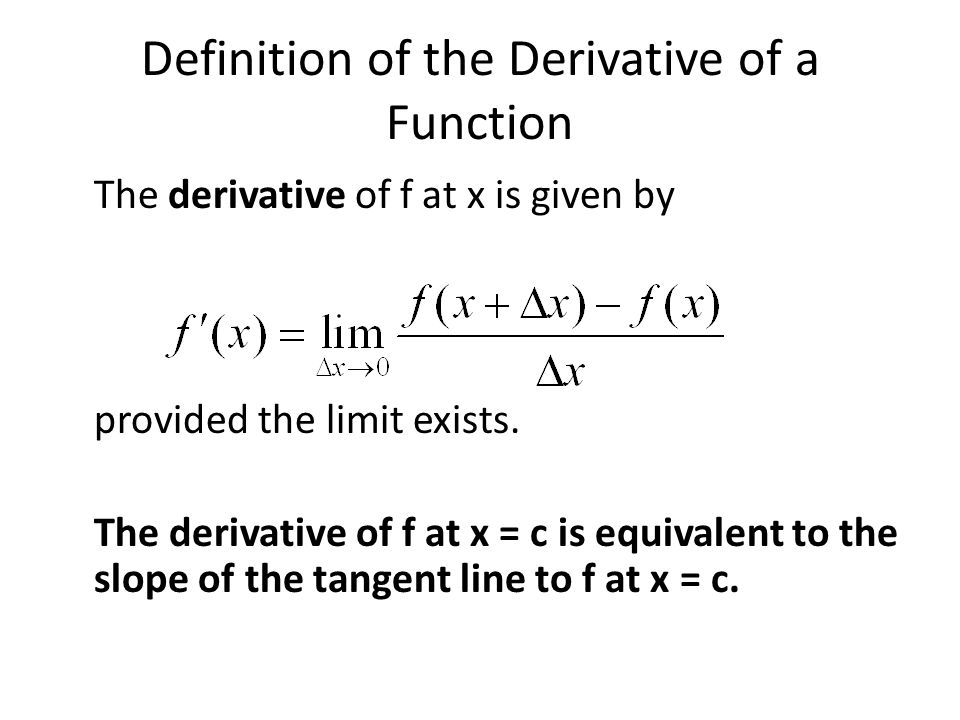 Definition of the Derivative of a Function