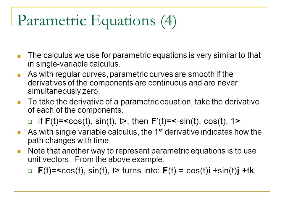 Parametric Equations (4)
