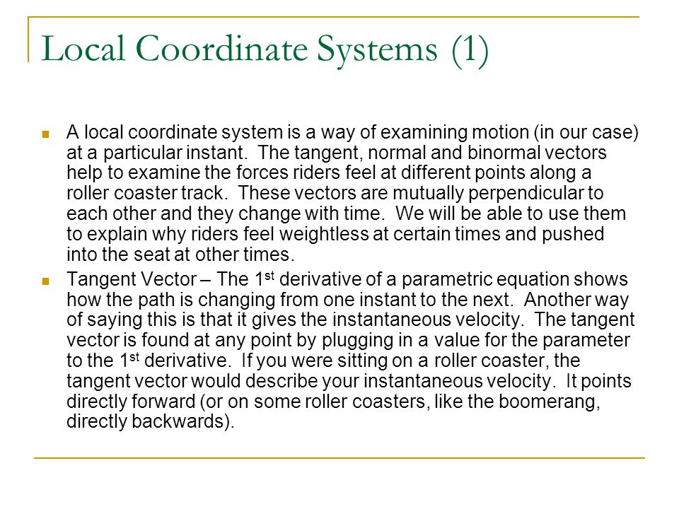 Local Coordinate Systems (1)