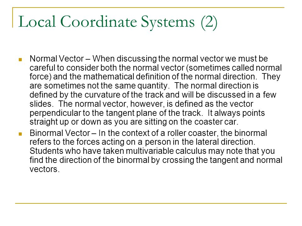 Local Coordinate Systems (2)