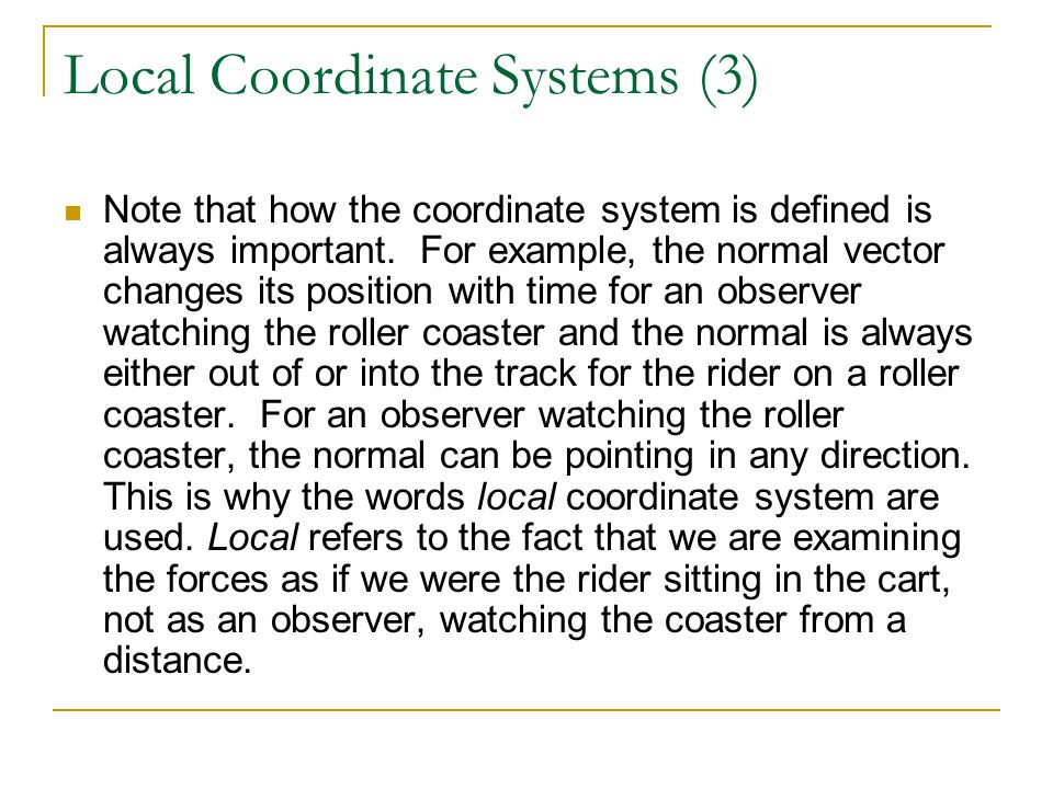 Local Coordinate Systems (3)