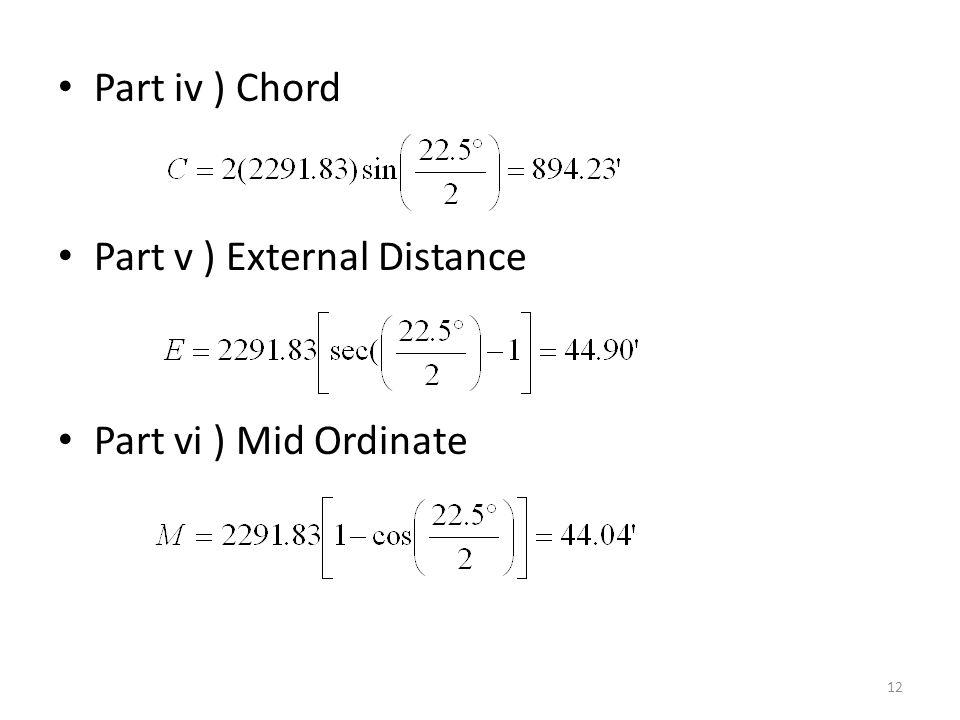 Part iv ) Chord Part v ) External Distance Part vi ) Mid Ordinate