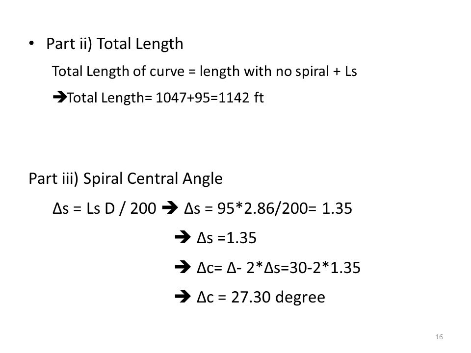 Part iii) Spiral Central Angle