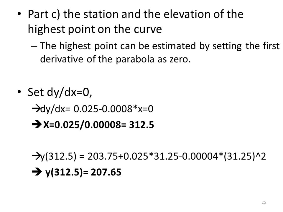 Part c) the station and the elevation of the highest point on the curve