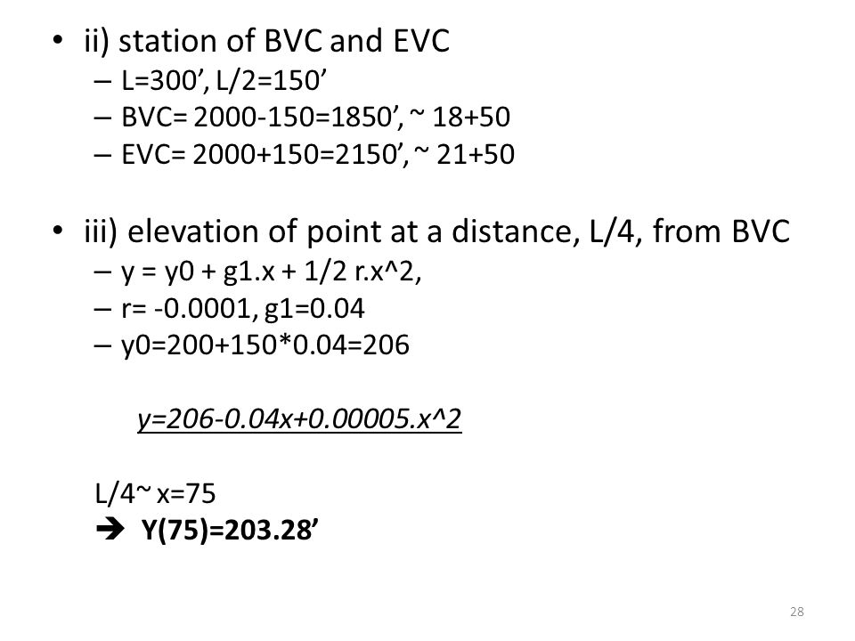 ii) station of BVC and EVC