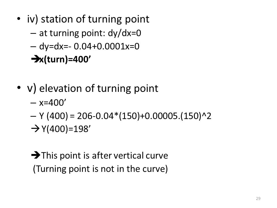 v) elevation of turning point