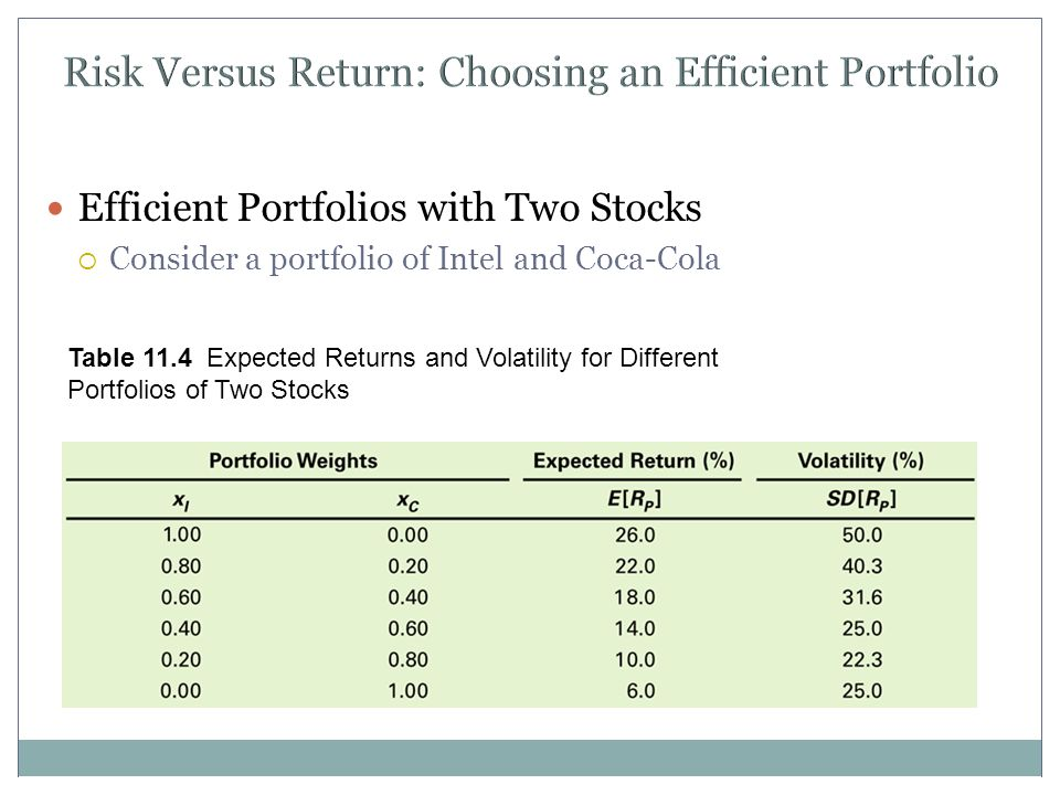 Risk Versus Return: Choosing an Efficient Portfolio