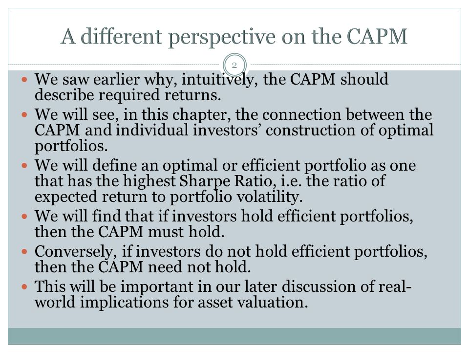 A different perspective on the CAPM
