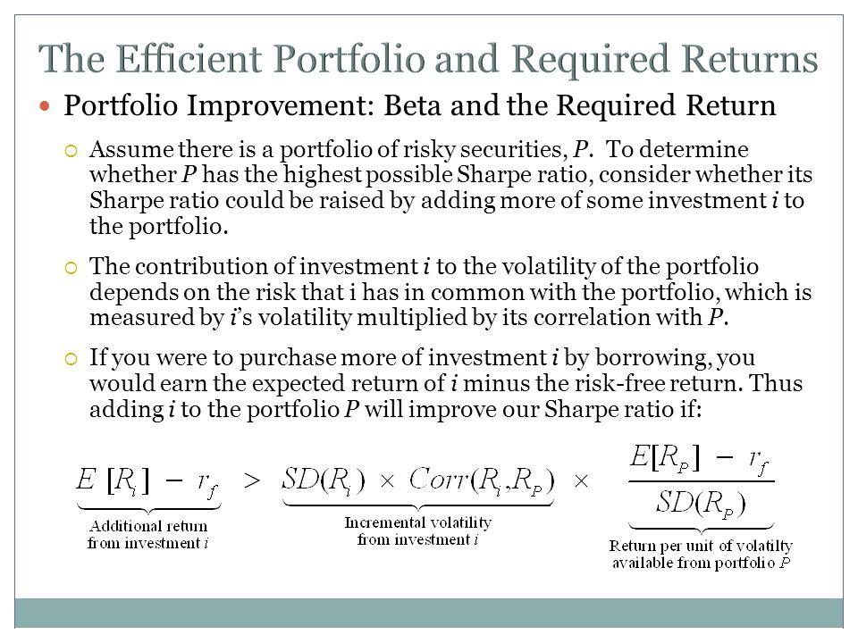 The Efficient Portfolio and Required Returns