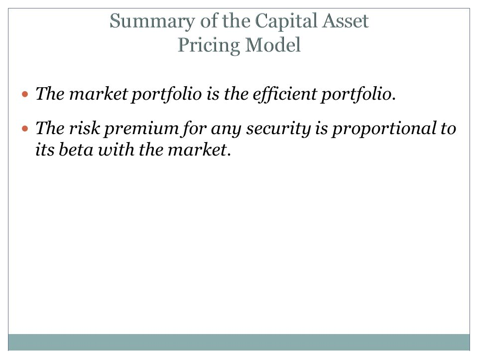 Summary of the Capital Asset Pricing Model