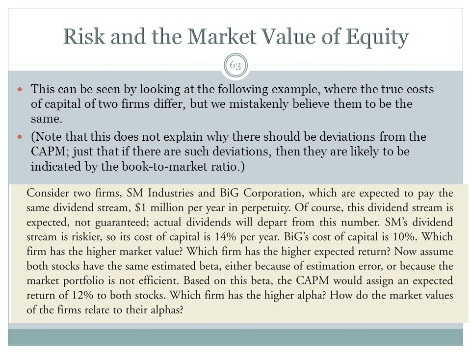 Risk and the Market Value of Equity