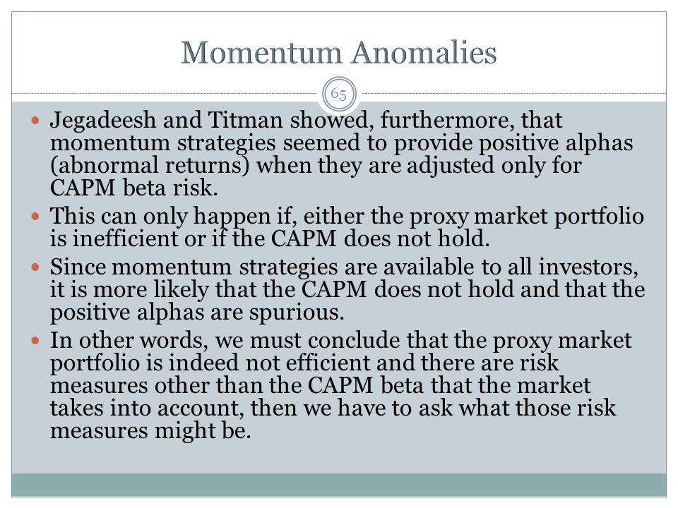 Momentum Anomalies