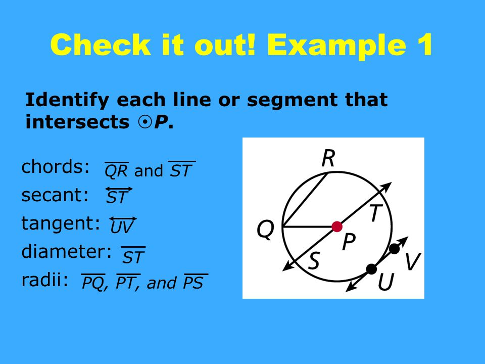 Check it out! Example 1 Identify each line or segment that intersects P. chords: secant: tangent: