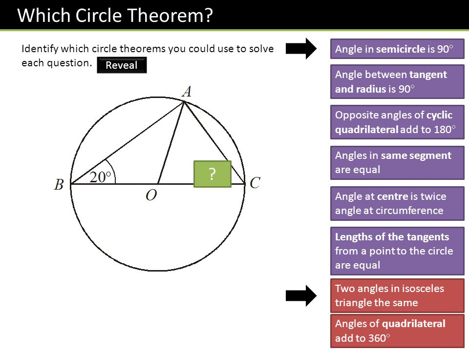 Which Circle Theorem Identify which circle theorems you could use to solve each question. Angle in semicircle is 90